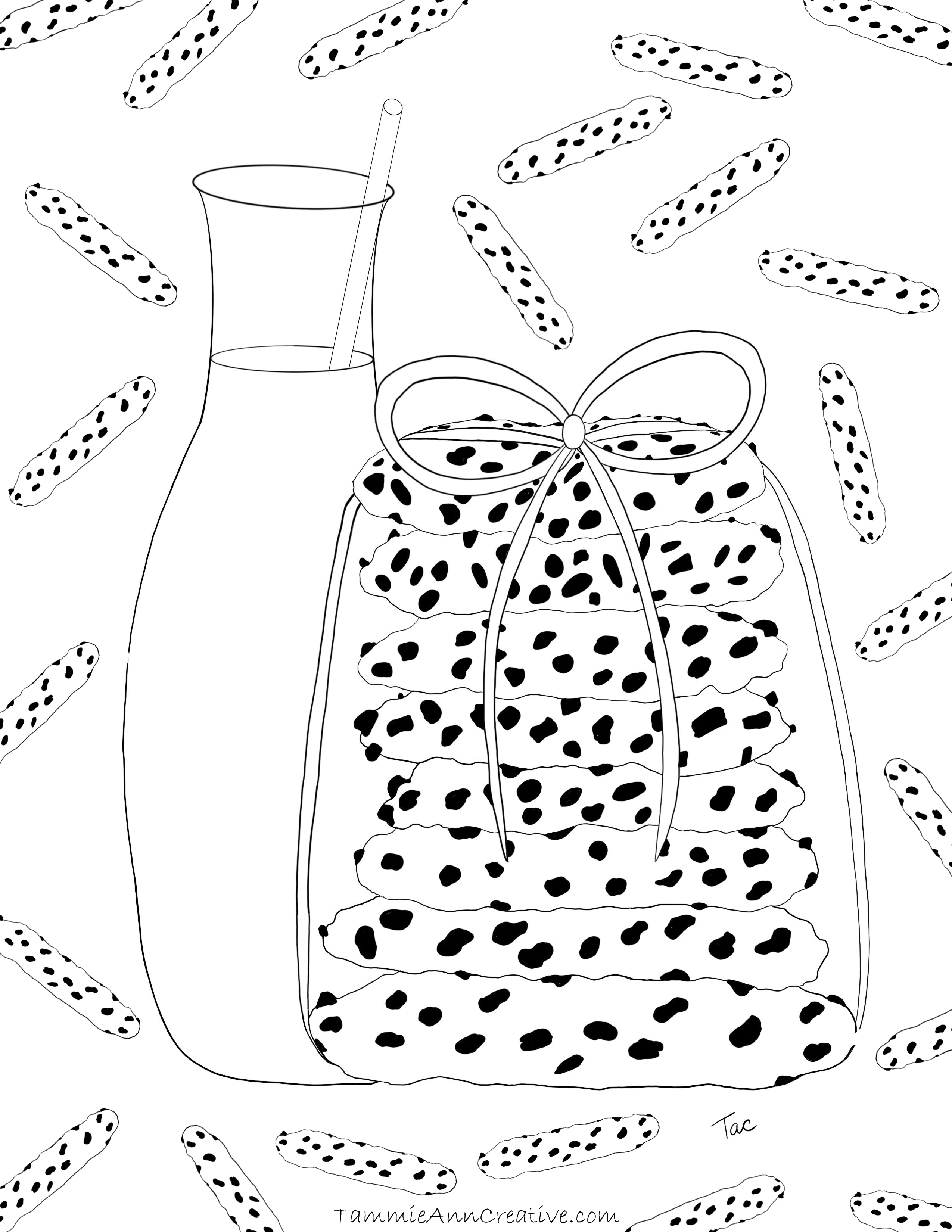 Chocolate Chip Cookies & Milk Free Coloring Book Download Page