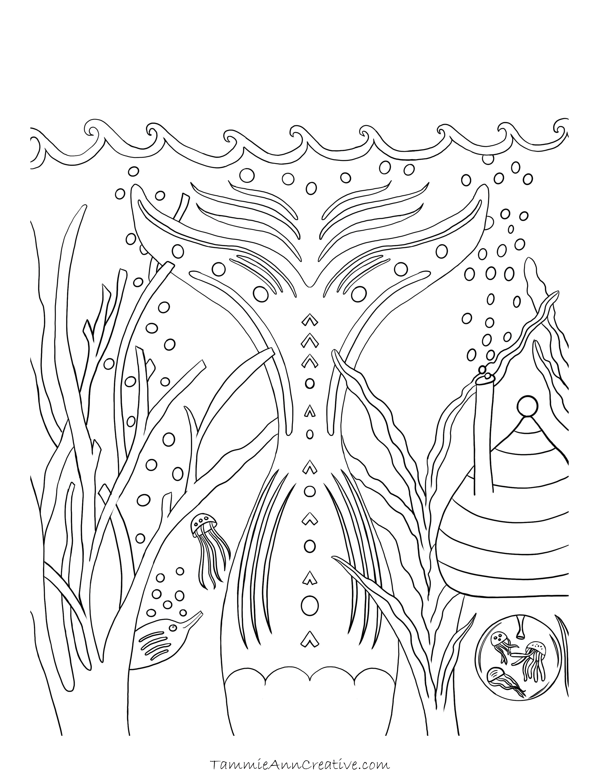 Under the Sea Mermaid Free Coloring Page